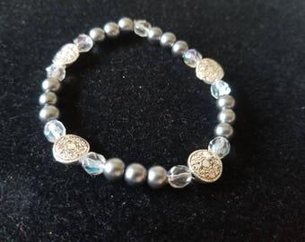Gray and Silver Stretch Bracelet