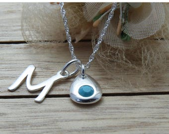 Personalized Birthstone Initial Necklace, December Birthstone Pendant, Birthstone Necklace, December Birthstone Jewelry, Gift for wife