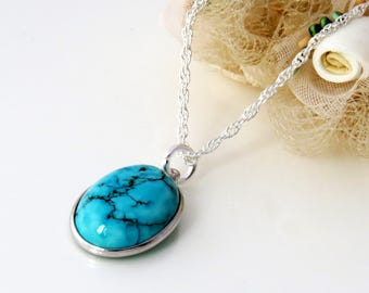Sterling Silver Turquoise Pendant, Turquoise Blue Necklace, December Birthstone Necklace, Bridesmaid Turquoise Pendant Necklace