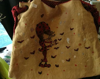Lined with fine quality cotton linen tote bag. Tie ribbons on the sides.