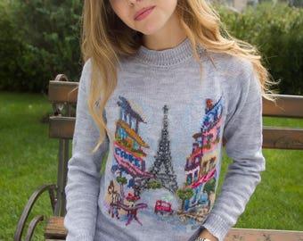Handmade sweater, pull over, grey sweater, jumper, Paris, women's sweater