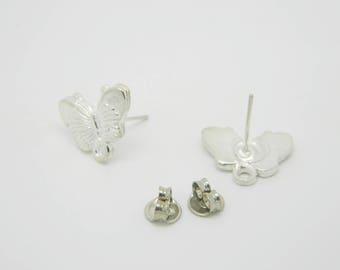 1 x pair 16mm (l945) silver Butterfly Stud Earrings