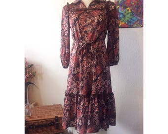 True Vintage 1970s Handmade Brown Florals Dress size 10/12 - Boho - Hippie - Retro