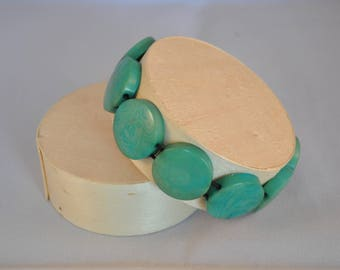 Turquoise Stretch Bracelet made of tagua (vegetable ivory)