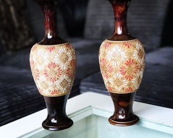 Pair Royal Doulton Lambeth Stoneware Slaters Vases excellent condition