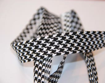BIAS POLYCOTTON 18MM HOUNDSTOOTH BLACK AND WHITE