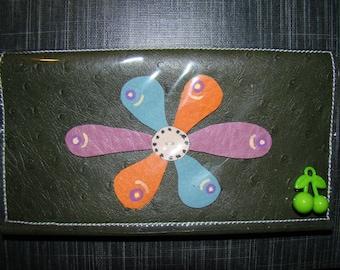 Khaki leather checkbook deco flower