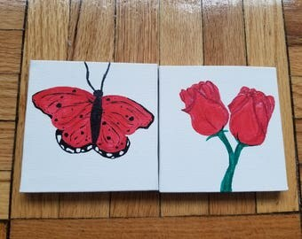 Red Butterfly and Roses