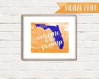 """Florida """"Welcome to the Swamp"""" Print, Printable Wall Decor, Digital Print"""
