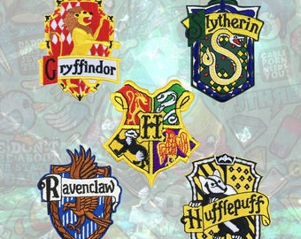 Harry Potter Magic Academy Patch Wizardry Patch Gryffindor Slytherin Hufflepuff Ravenclaw Iron on Patch Sew On Patches back patch