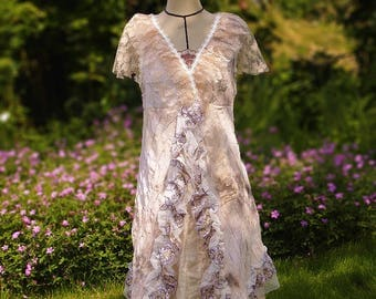Ty & wrinkled die embroidered with sequins and lace cotton Bohemian dress