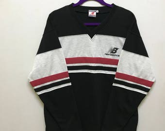 Rare!!! New Balance Pullover Spellout Small Logo Stripes