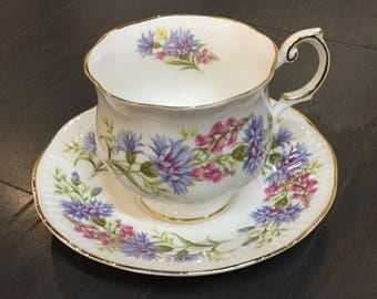 "Rosina Bone China Teacup ""Wild Flowers"" Queens Collection"