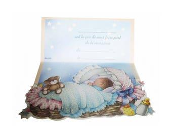 9 birth announcements mixed folding 3D - card birth announcement - 9 cards make part of birth