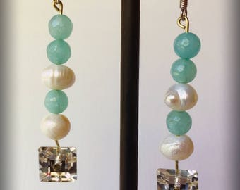 Chic Teal and Pearl Earrings