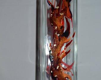 Vase soliflore moderne en verre peint style Murano rouge, doré et bleu nuit, peinture sur verre Opaleisis, sur Etsy