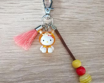 Original key figurine cat with Pompom and fabric
