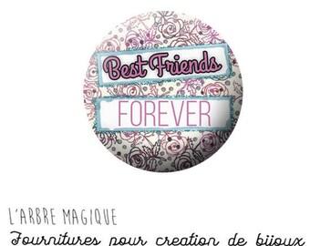 2 cabochons glue best friend friendship Best friends ref 1284 - 16 mm-