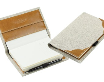 Pocket notebook in a linen/leather combination