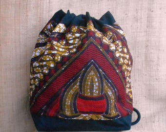 Backpack in wax, ethnic African fabric bag, bucket bag, Bohemian, backpack or shoulder wax red beige black