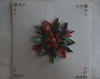 Handmade quilled card with flower design