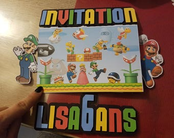 invitation theme mario bros birthday