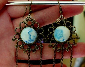 Earrings blue and white marble