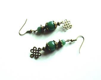 Retro earrings, jade beads