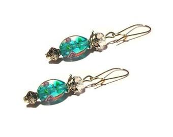 Shabby chic blue murano beads earrings