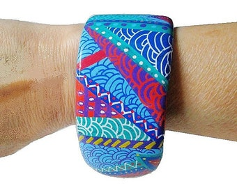 Cuff Bracelet hand painted multicolor graphic abstract pattern