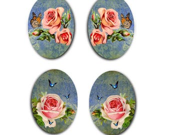"13x18mm, 2 pairs ""roses anciennes"""
