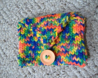 Purse with button fastening, Hand knitted, Multi coloured