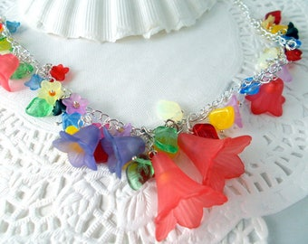 "necklace ""colorful spring flowers"""