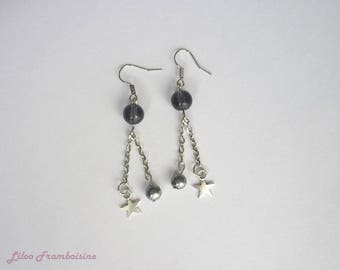 Star earrings and gray pearls