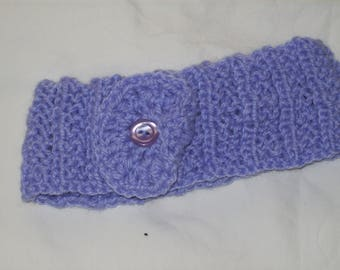 Girl's Hand Knit Lilac Headband/Earwarmer with Lilac Flower and Button Decoration - New
