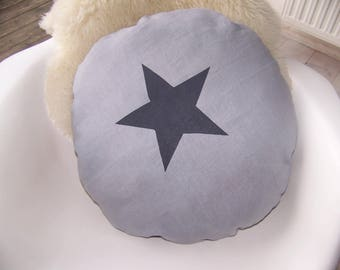 Round grey linen with charcoal star cushion