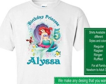 Ariel Birthday Shirt/Ariel Stickers/Ariel Invitations/Ariel Party Supplies/Ariel Labels/Ariel Banner/The Little Mermaid Birthday Shirt