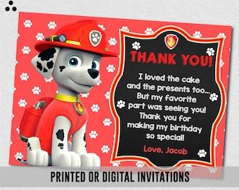 Marshall Paw Patrol Thank You Card, Paw Patrol Marshall Thank You Card, Marshall Paw Patrol Paw-ty, Marshall Physical Paw Patrol Birthday