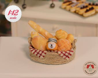 Miniature Bread Basket - Rustic Breads, 1/12 Scale, Miniature Bread for Dollhouse - BRD101