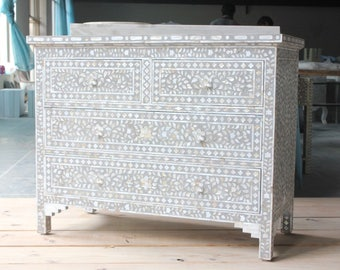 Mother of Pearl Inlay Dresser Handmade by Shanti Lal | Indian Furniture