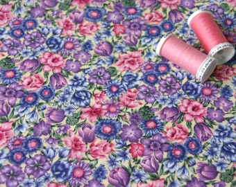 Patchwork fabric small multicolored flowers