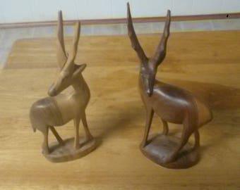 2 Hand Carved Wood Gazelles Antelope Made in Kenya