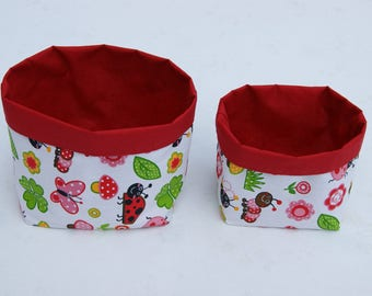 Set of two handmade fabric baskets