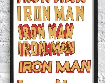 Iron Man Caligraphy Marvel A3 Print
