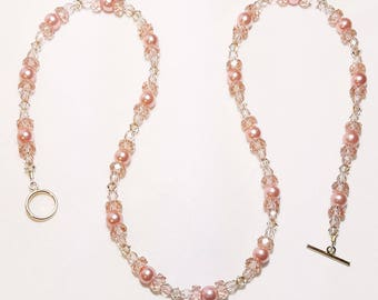 Rose Pink 14K Gold Bridal Wedding Single Strand Necklace