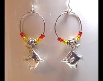 Silver Angelfish Charm Small Hoop Earrings