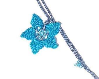 Blue lace crochet Estrellita turquoise necklace