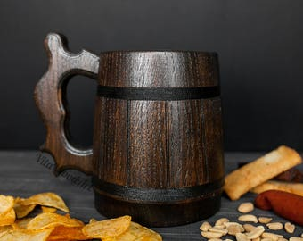 Handcrafted Wooden Beer Steins, Wooden Beer Mug, Wood Beer Tankard, Wood Beer Mug Groomsmen Gift