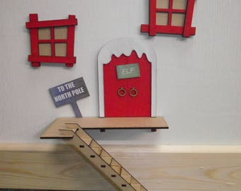 Large 3D Elf Door with Steps for wall mounting, above the skirting board, on the chimney breast or on the shelf