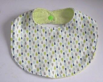 Reversible bib 0-9 months fabric Scandinavian design chic green, blue, Navy and gray